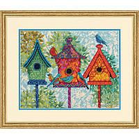 """71-20088 Набор для вышивания гобеленом """"Colorful Birdhouses//Красочние домики для птиц"""" DIMENSIONS"""