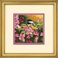 """71-07244 Набор для вышивания гобеленом """"Синичка в розовом//Chickadee in Pink"""" DIMENSIONS"""