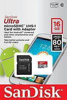 Карта памяти SanDisk Ultra microSD XC 16GB class 10 SD адаптер