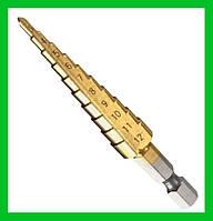 Ступенчатое шаговое сверло по металлу HSS 4-12мм