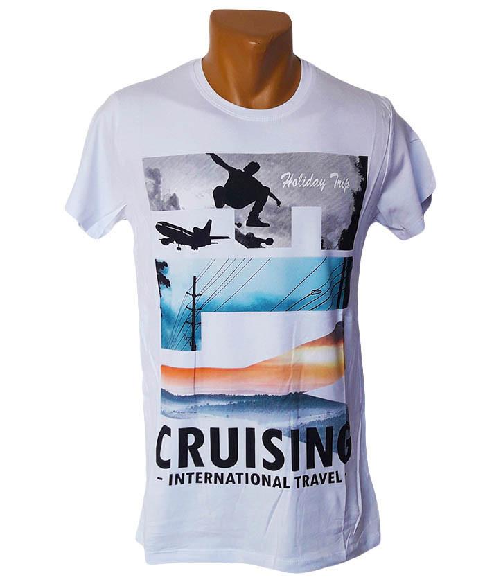 Креативная белая футболка Highlander - №5235