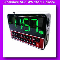 Моб.Колонка SPS WS 1513 + Clock,Часы-акустика SPS WS 1513 + Clock bluetooth,Мобильная колонка