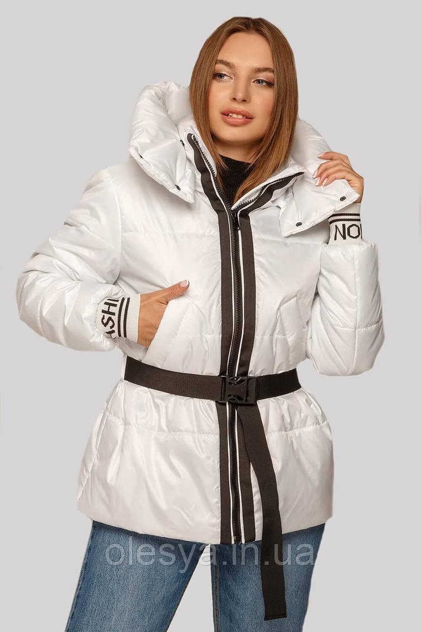 Белая молодежная куртка Алекса со съемным поясом и трикотажными манжетами