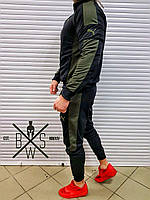 Спортивный костюм мужской Puma black-khaki / весенний осенний ЛЮКС