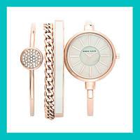 Часы в подарочной упаковке ANNE KLEIN Rose Gold White!Акция