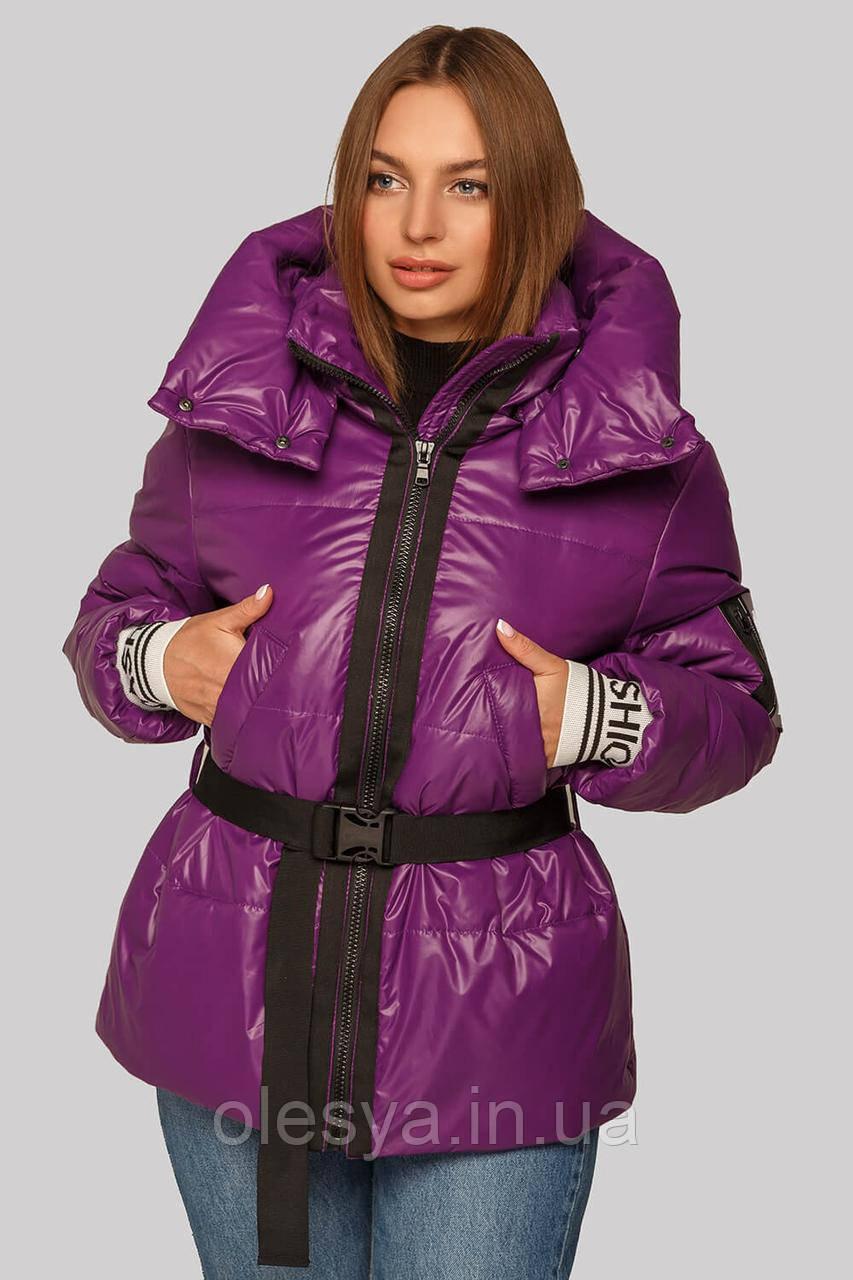 Куртка Алекса на весну-осень ультрамодного цвета фуксия с трикотажным поясом рры 44-52