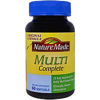 """Nature Made, """"Мульти-полноценный"""", мультивитаминный комплекс, 60 мягких желатиновых капсул с жидкостью"""