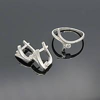 Комплект срібних прикрас Галка з цирконами сережки та каблучка