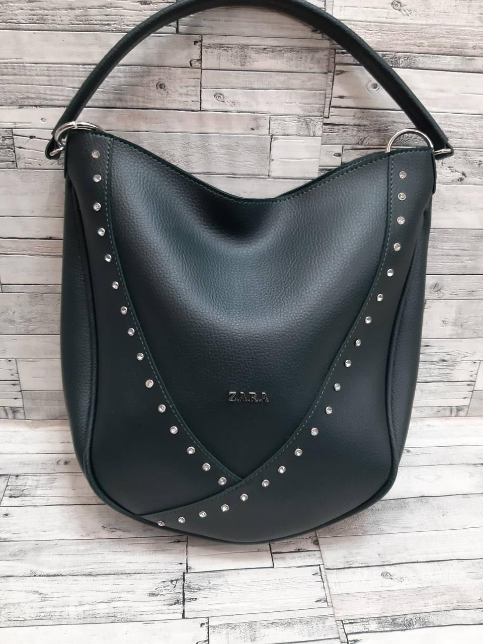 Женская сумка кожзам  ZARA Зара .  Зелёный