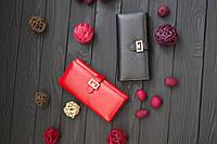 Кожаный женский клатч-кошелек GIVENCHY / Женский клатч из натуральной кожи, цвет красный