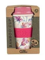 Стакан из бамбука для напитков с крышкой ( Многоразовый стакан в коробке), фото 2