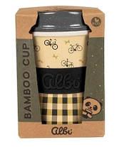 Стакан из бамбука для напитков с крышкой ( Многоразовый стакан в коробке), фото 3