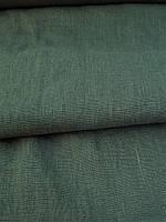 """Льняная плотная костюмная ткань с """"эффектом помятости""""  цвета Хаки"""