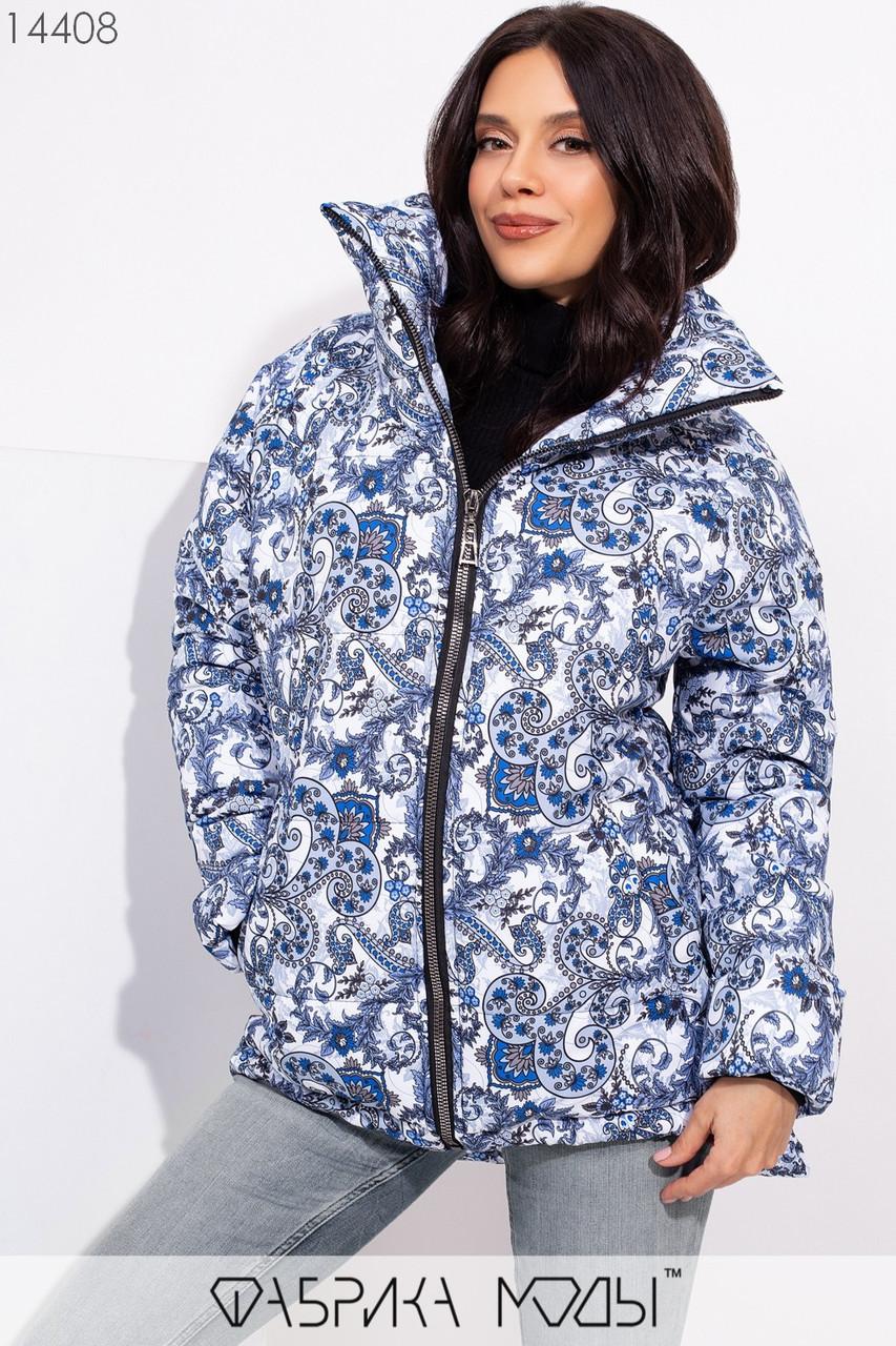 Принтованная куртка асимметричного кроя с объемным воротником и прорезными карманами по бока с 42 по 46 размер - SvitStyle