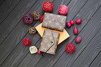 Кожаное портмоне Louis Vuitton / портмоне из натуральной кожи, коричневый цвет
