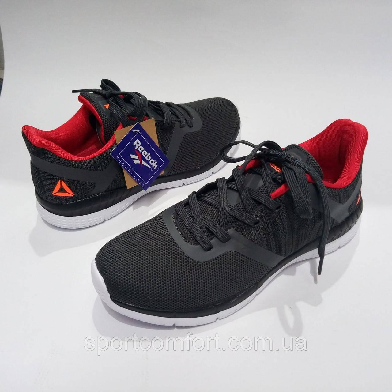 Черные кроссовки сетка reebok