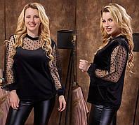 Блуза женская из бархата с сеточкой в звёздах, на манжете, черного цвета (42-64)