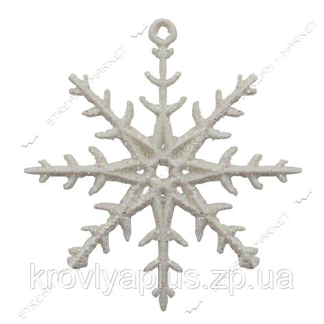 Набор новогодних пластиковых игрушек Снежинка d=6см  белая с блестками, фото 2