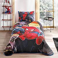 Стеганное покрывало TAC Disney Spiderman In City  160×220см + наволочка