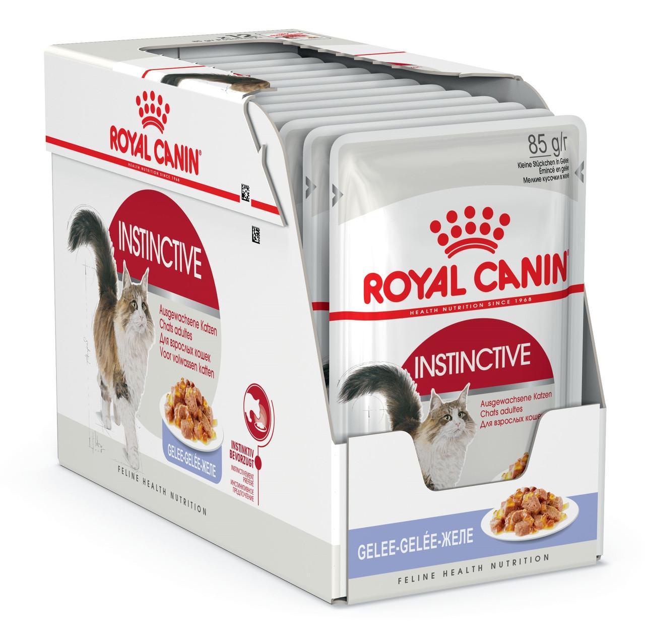 Вологий корм для кішок Royal Canin Instinctive шматочки в желе блок 85 г*12 шт.