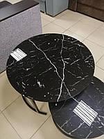 Журнальный столик-трансформер Каленое стекло ,черный мрамор