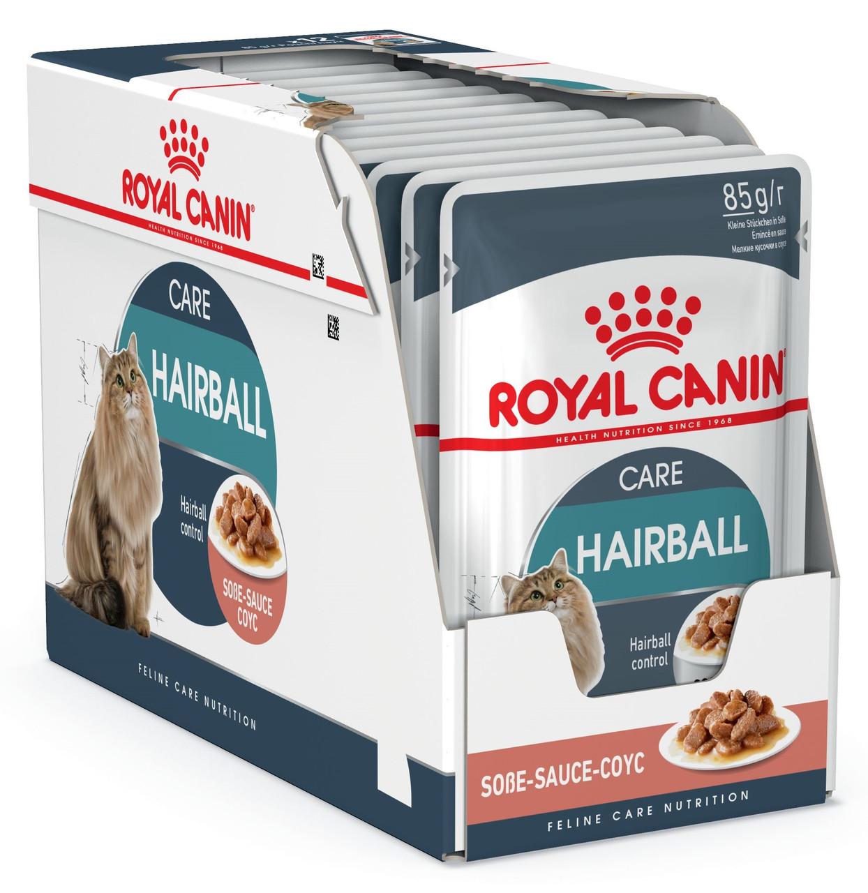 Влажный корм Royal Canin Hairball Care для выведения шерсти у кошек блок 85 г*12 шт.