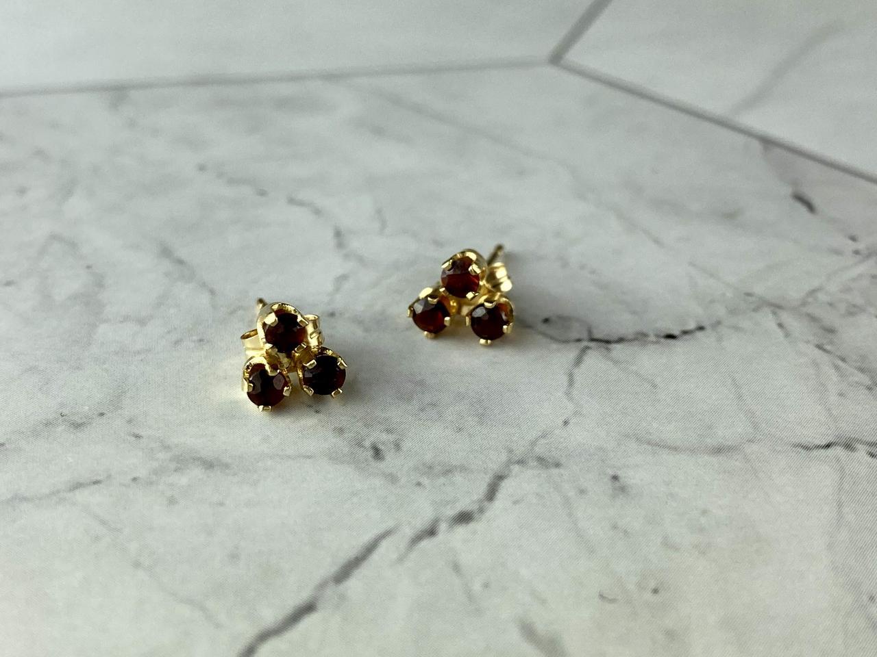Золоті Сережки-гвоздики з Спессартином 14К (585 проба)
