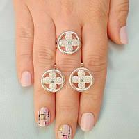 Комплект срібних прикрас Хрест з різнокольоровими цирконами сережки та каблучка
