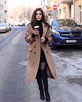 Женское кашемировое пальто удлиненное с воротом подкладка атлас застежка пуговицы размер: 42, 44, 46