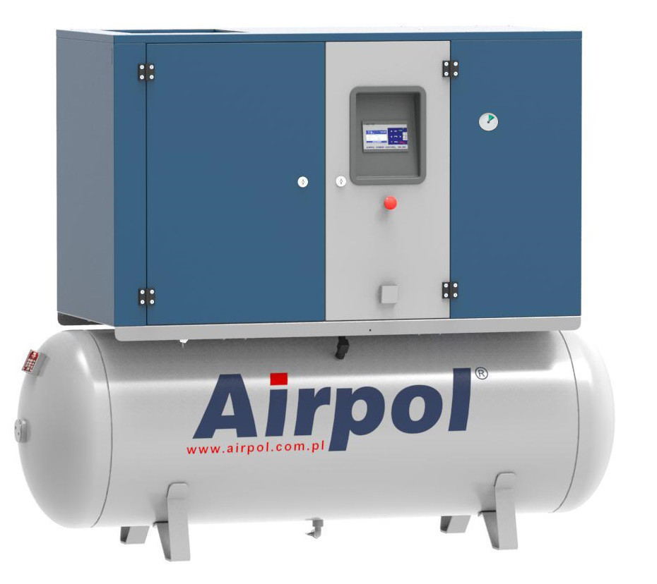 Компрессор винтовой Airpol KT 11 (0,8 МПа) с осушителем на базе ресивера 500 л.