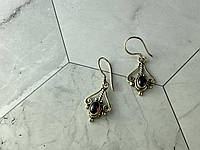 Винтажные Серебряные Серьги с камнем Гранат Пироп