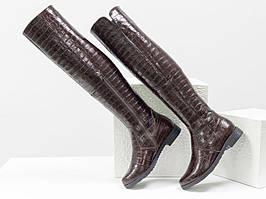 """Высокие эксклюзивные ботфорты из натуральной лаковой кожи """"крокодил"""""""