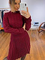 Красивое женское платье с юбочкой плиссе, в расцветках