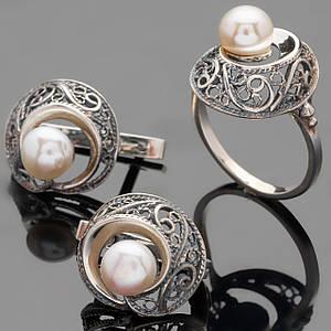 Срібний набір з перлами арт. 490г