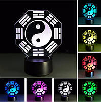 3D светильник Инь-Ян | Настольный ночник