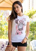 """Женская футболка с рисунком """"One Love""""  р. 42-46"""