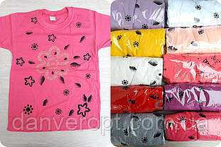 Футболка подростковая модная FLOWERS на девочку 10-14 лет купить оптом со склада 7км Одесса