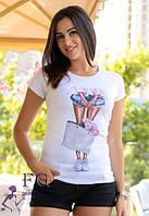 """Стильная футболка с принтом """"Bouquet""""""""  р. 42-46"""