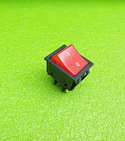 Кнопка вкл / выкл одинарная (ШИРОКАЯ) Boltek / 25А / 250V / T125 (со светодиодом) КРАСНАЯ   Турция