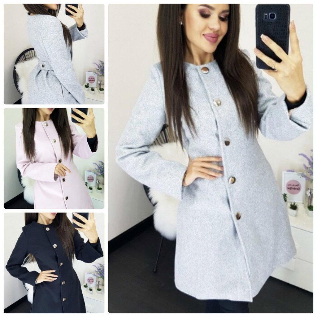 Красивое женское демисезонное пальто приталенное короткое на кнопках 3 цвета С М Л