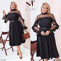 Эффектное платье больших размеров с расклешенной юбкой, размеры 52-54, 56-58, 60-62, 64-66
