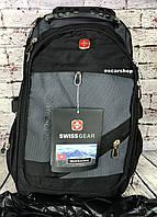 Мужской рюкзак swissgear c usb + чехол дождевик + выход на наушники. Сумка портфель. ШР5-1