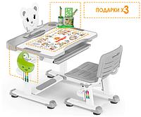 Комплект Evo-kids (стул+стол+полка) BD-04 G (XL) Teddy Grey - столешница белая / цвет пластика серый