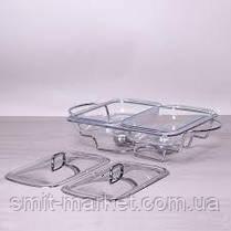 Мармит двойной  2*1,5л из жаропрочного стекла с металл.крышкой, фото 2