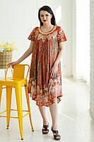 Легка літня сукня вільного крою з яскравим принтом та вишивкою спереду №621-1