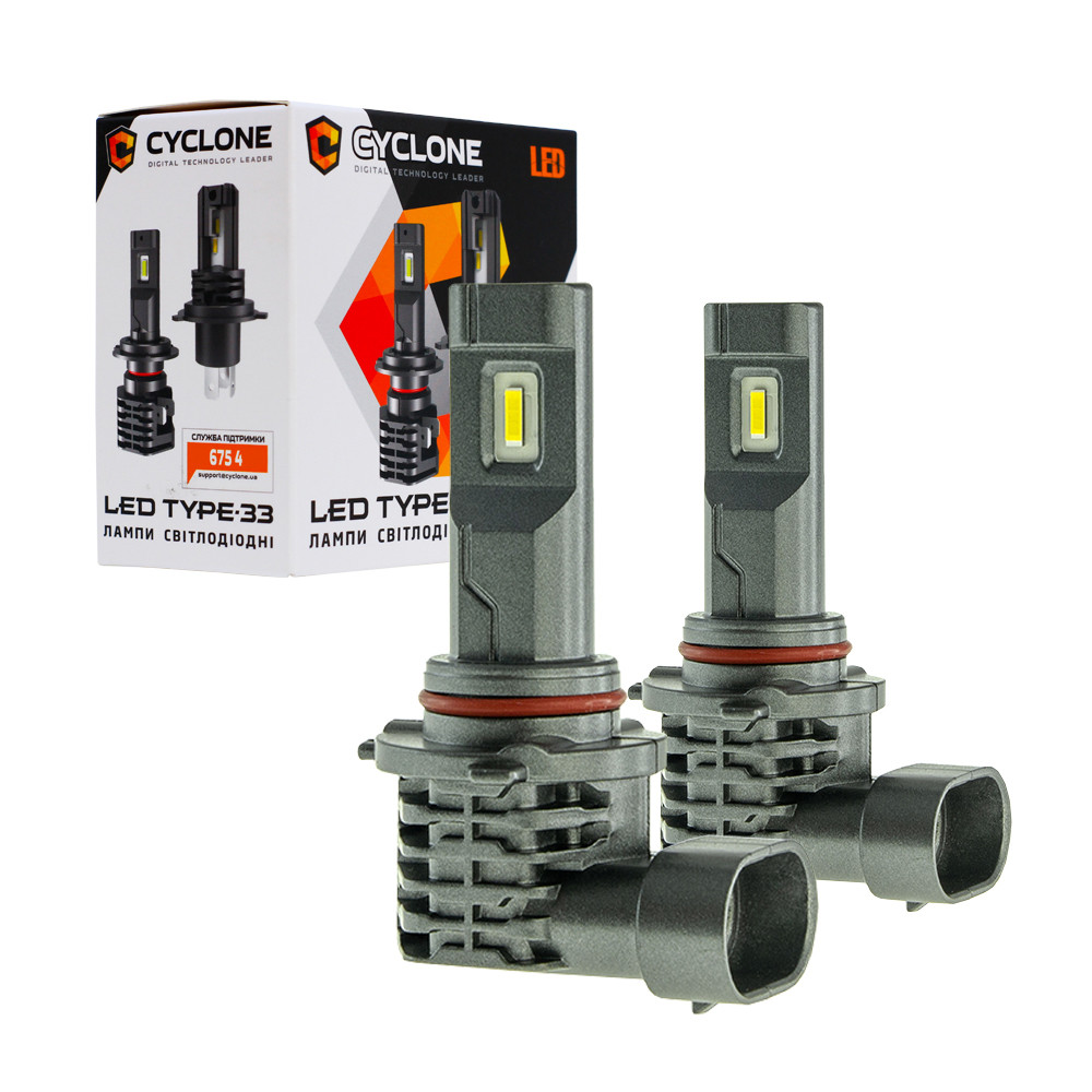 Лампа светодиодная для фар CYCLONE LED HB3 5000K 4600LM TYPE 33 2 шт комплект