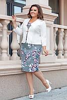Женский элегантный костюм платье+пиджакот50-до56р.(5расцв), фото 1