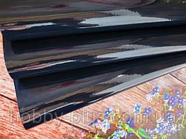 Экокожа (кожзам) лаковая на тканевой основе, ЧЕРНО-СИНИЙ, 20х27 см