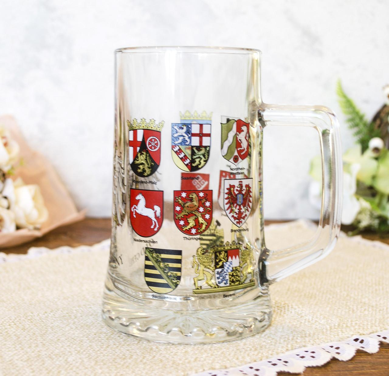 Немецкая кружка для пива, пивной бокал, стекло, Германия, гербовая символика