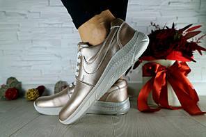 Женские кроссовки кожаные весна/осень серебристые CrosSAV 41. [В наличии: 37,38]